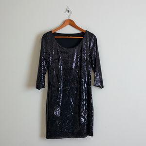 White House Black Market 3/4 Sleeve Sequin Dress